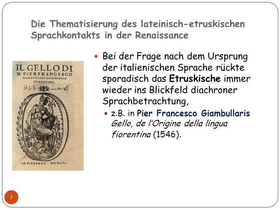 Die Thematisierung des lateinisch-etruskischen Sprachkontakts in der Renaissance