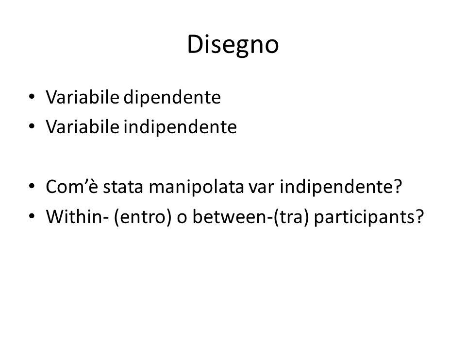 Disegno Variabile dipendente Variabile indipendente
