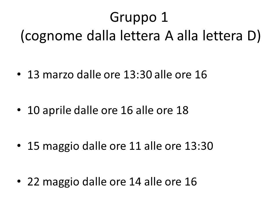 Gruppo 1 (cognome dalla lettera A alla lettera D)