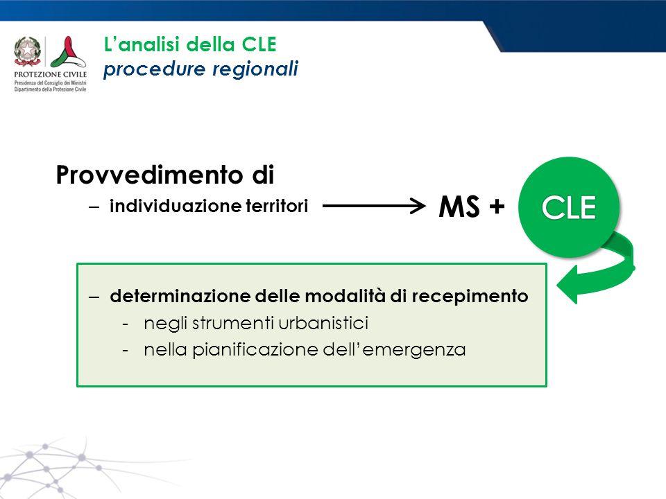 CLE MS + Provvedimento di L'analisi della CLE procedure regionali