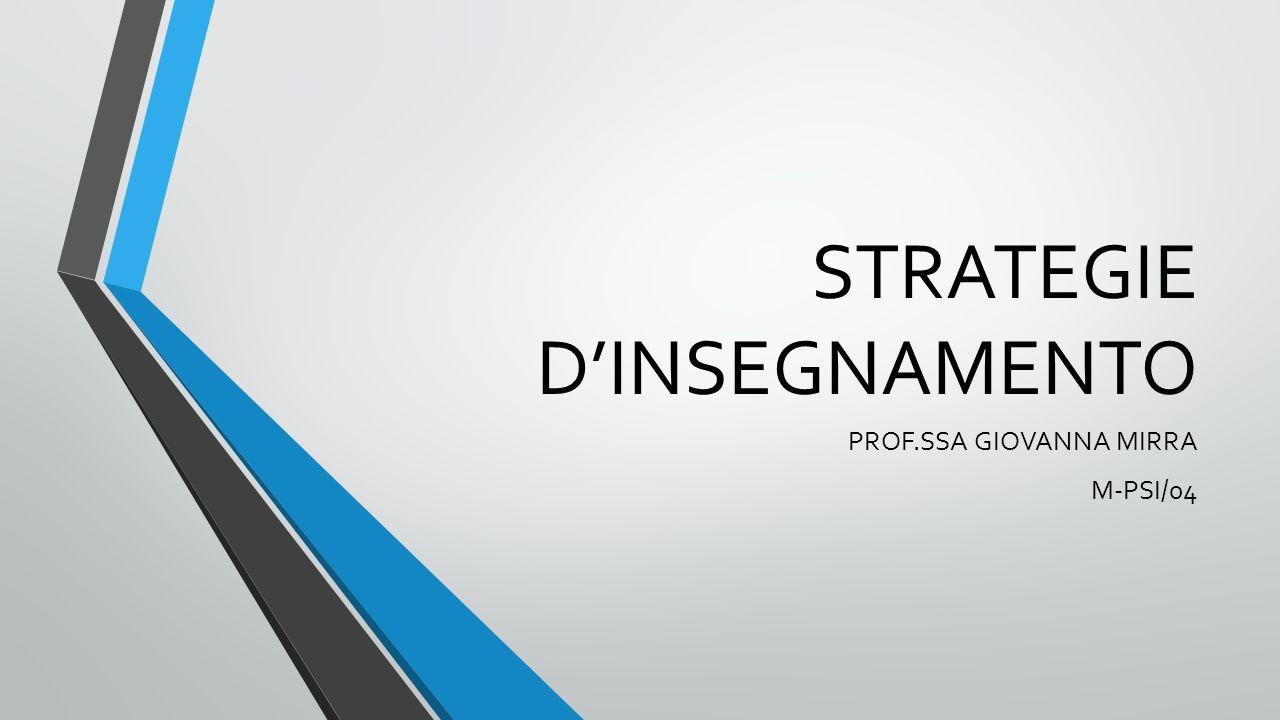 STRATEGIE D'INSEGNAMENTO