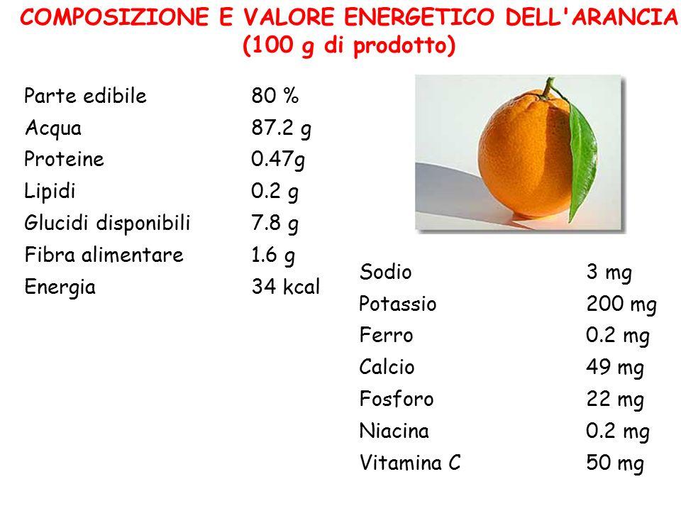 COMPOSIZIONE E VALORE ENERGETICO DELL ARANCIA (100 g di prodotto)