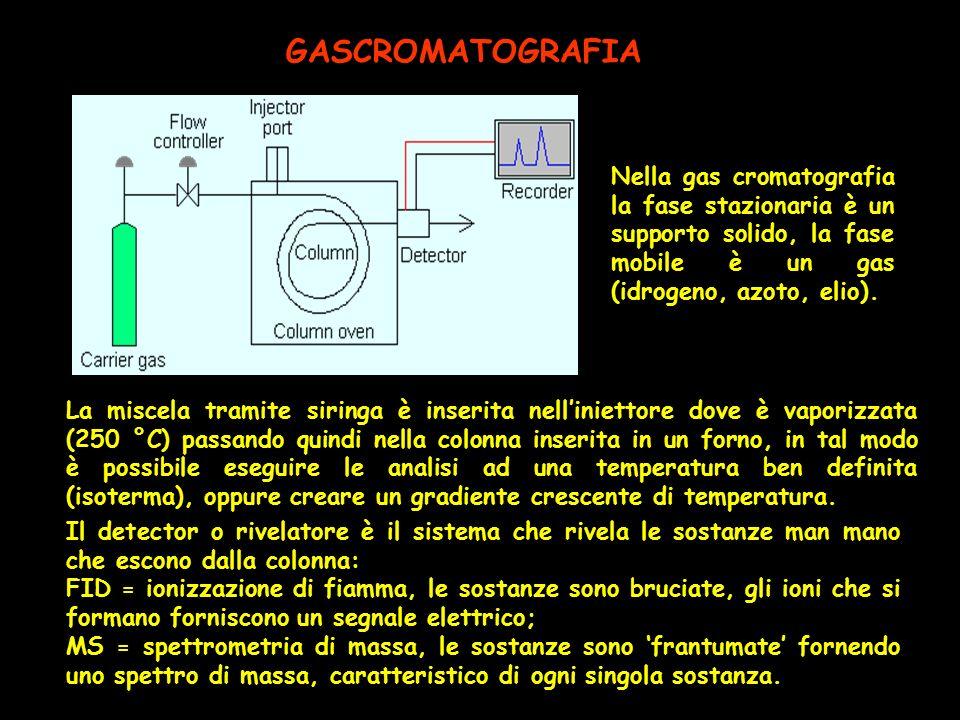GASCROMATOGRAFIA Nella gas cromatografia la fase stazionaria è un supporto solido, la fase mobile è un gas (idrogeno, azoto, elio).