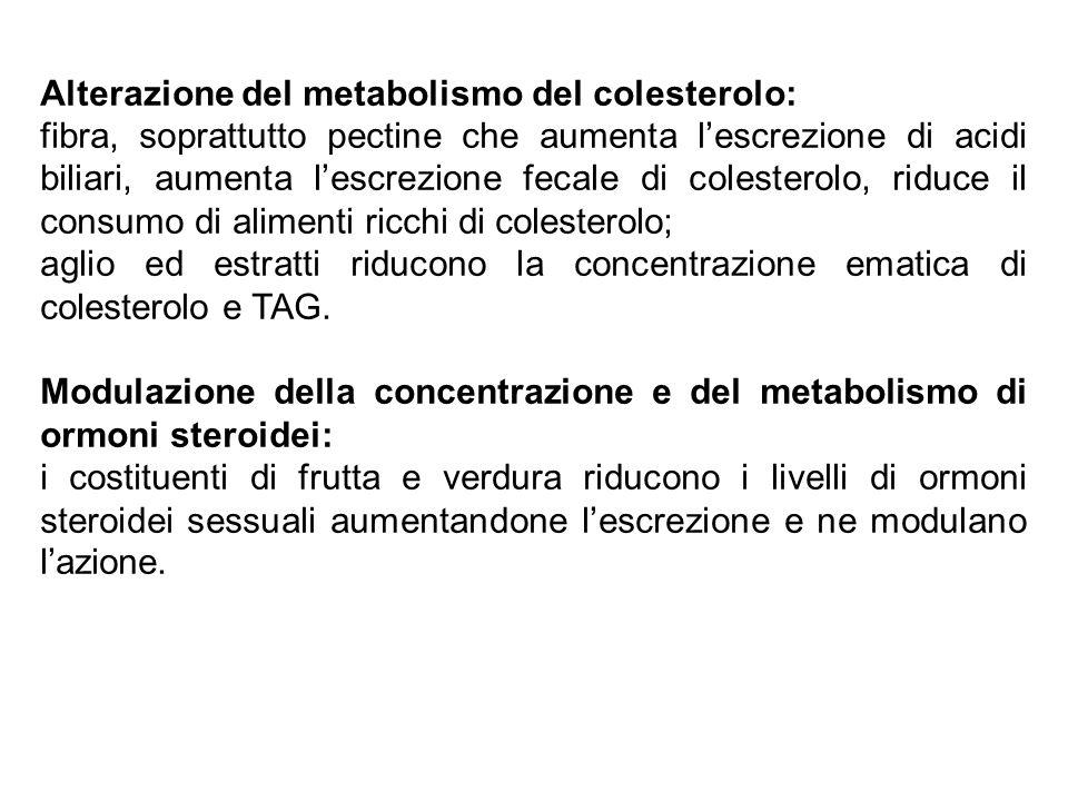 Alterazione del metabolismo del colesterolo: