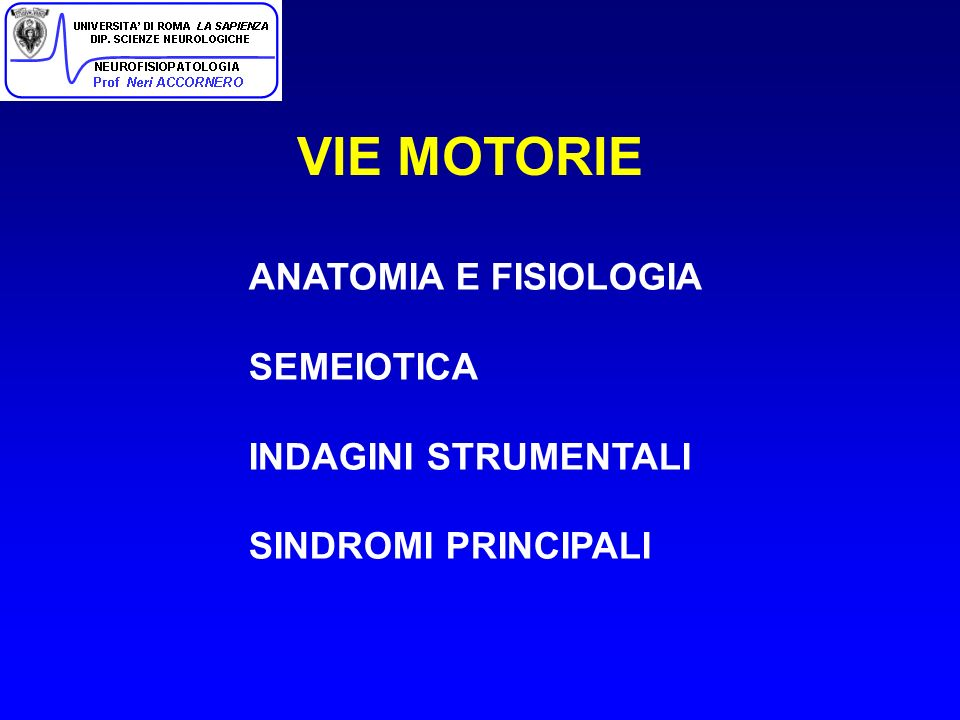 VIE MOTORIE ANATOMIA E FISIOLOGIA SEMEIOTICA INDAGINI STRUMENTALI