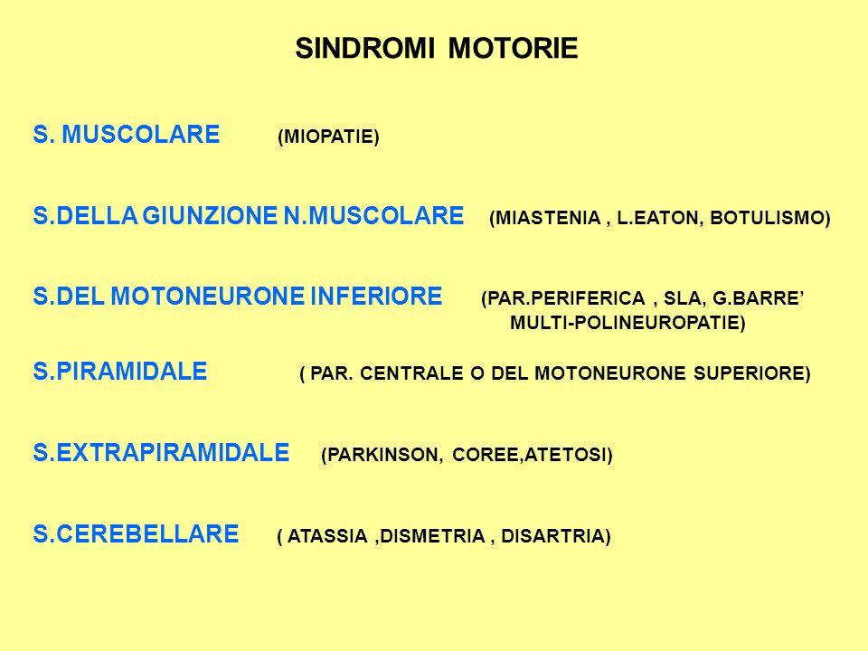 SINDROMI MOTORIE S. MUSCOLARE (MIOPATIE)