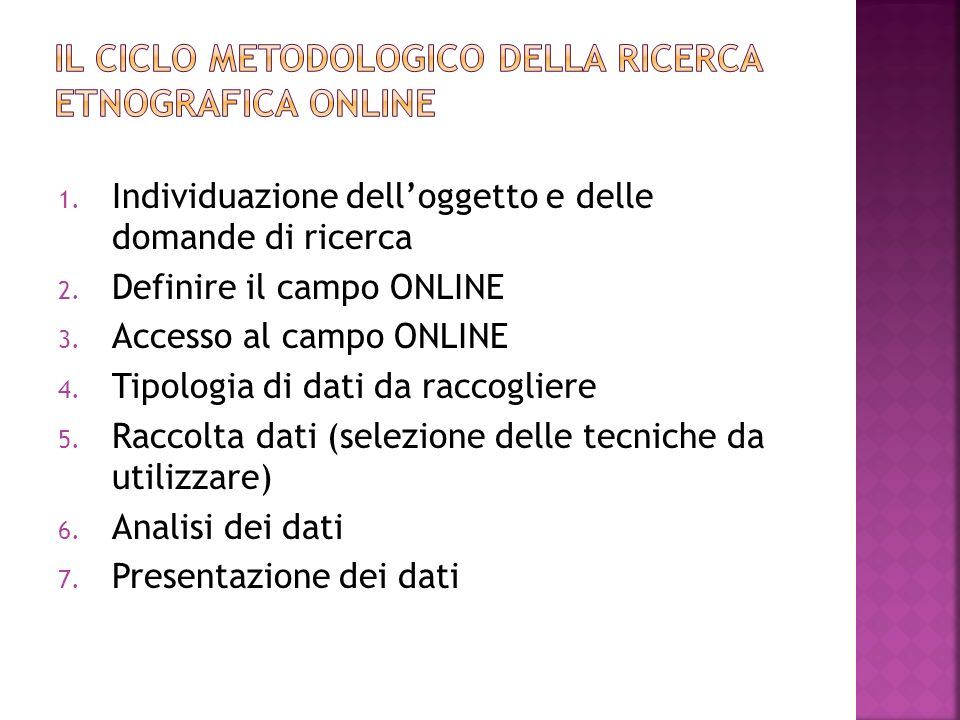 Il ciclo metodologico della ricerca etnografica online