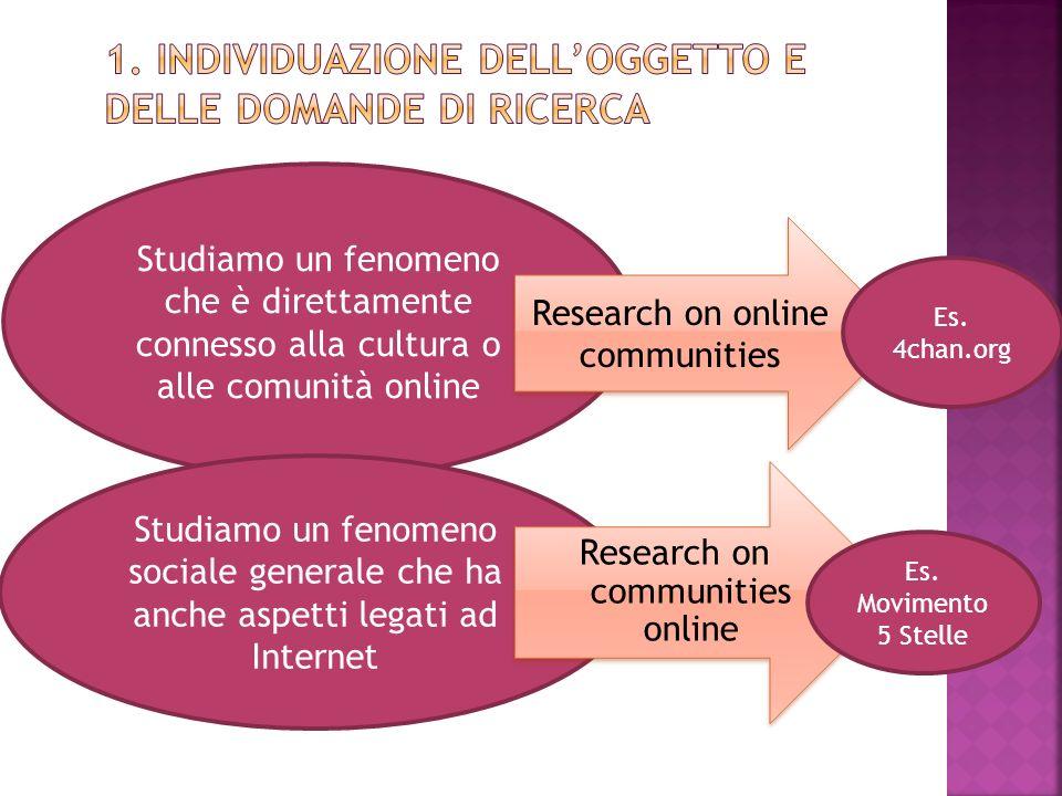 1. Individuazione dell'oggetto e delle domande di ricerca