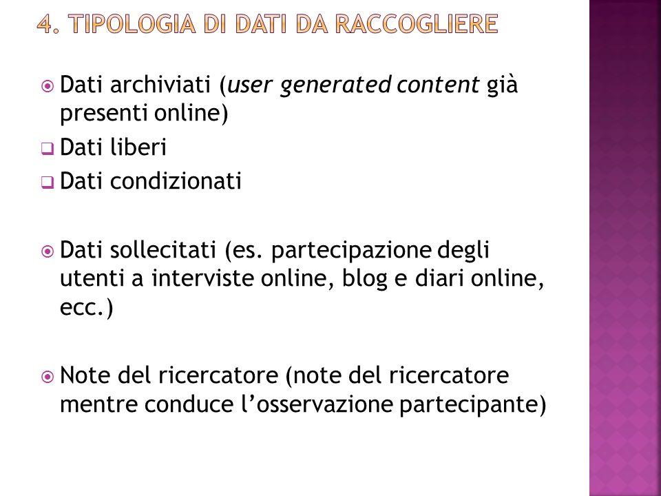 4. Tipologia di dati da raccogliere