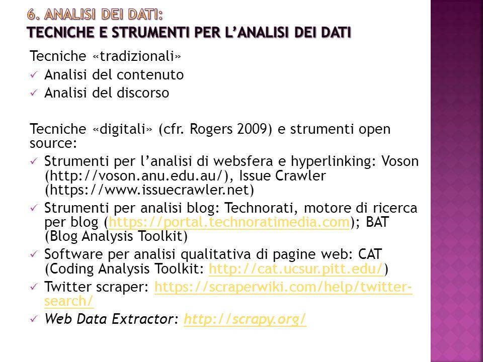 6. Analisi DEI DATI: tecniche e strumenti per L'analisi dei dati