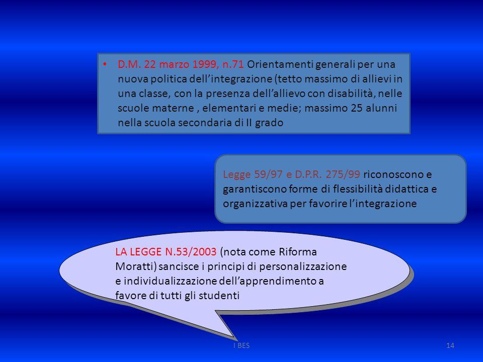 D.M. 22 marzo 1999, n.71 Orientamenti generali per una nuova politica dell'integrazione (tetto massimo di allievi in una classe, con la presenza dell'allievo con disabilità, nelle scuole materne , elementari e medie; massimo 25 alunni nella scuola secondaria di II grado