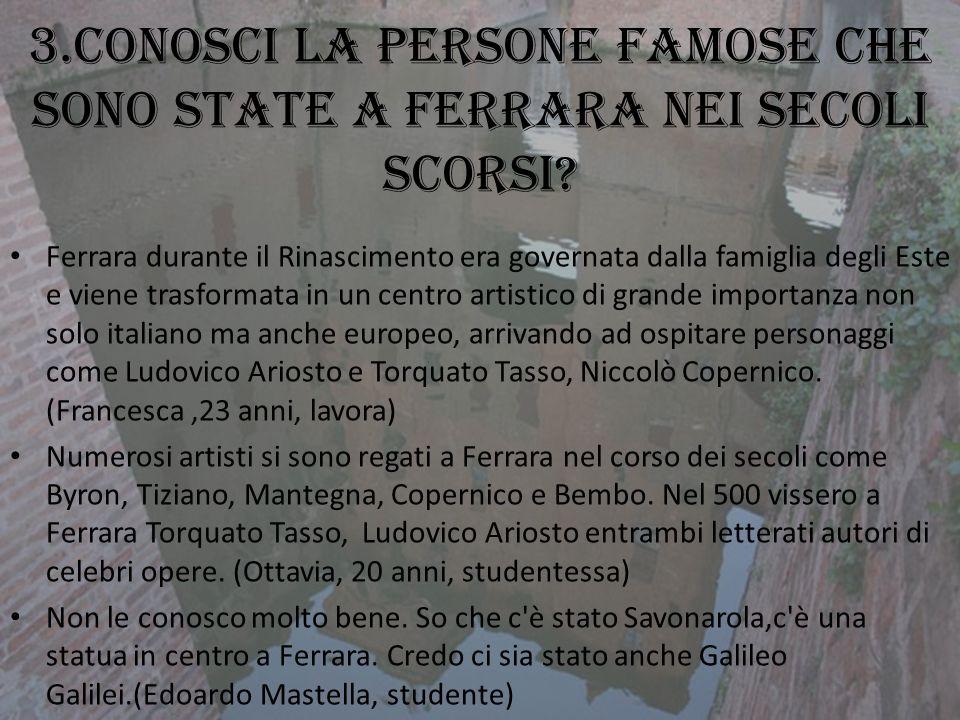 3.Conosci la persone famose che sono state a Ferrara nei secoli scorsi