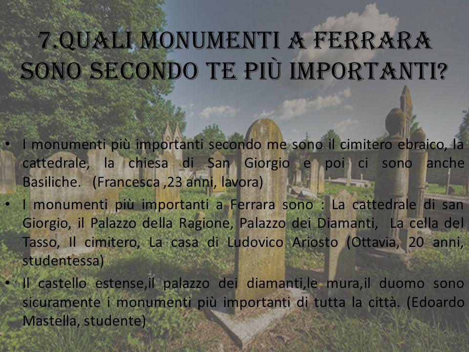7.Quali monumenti a Ferrara sono secondo te più importanti