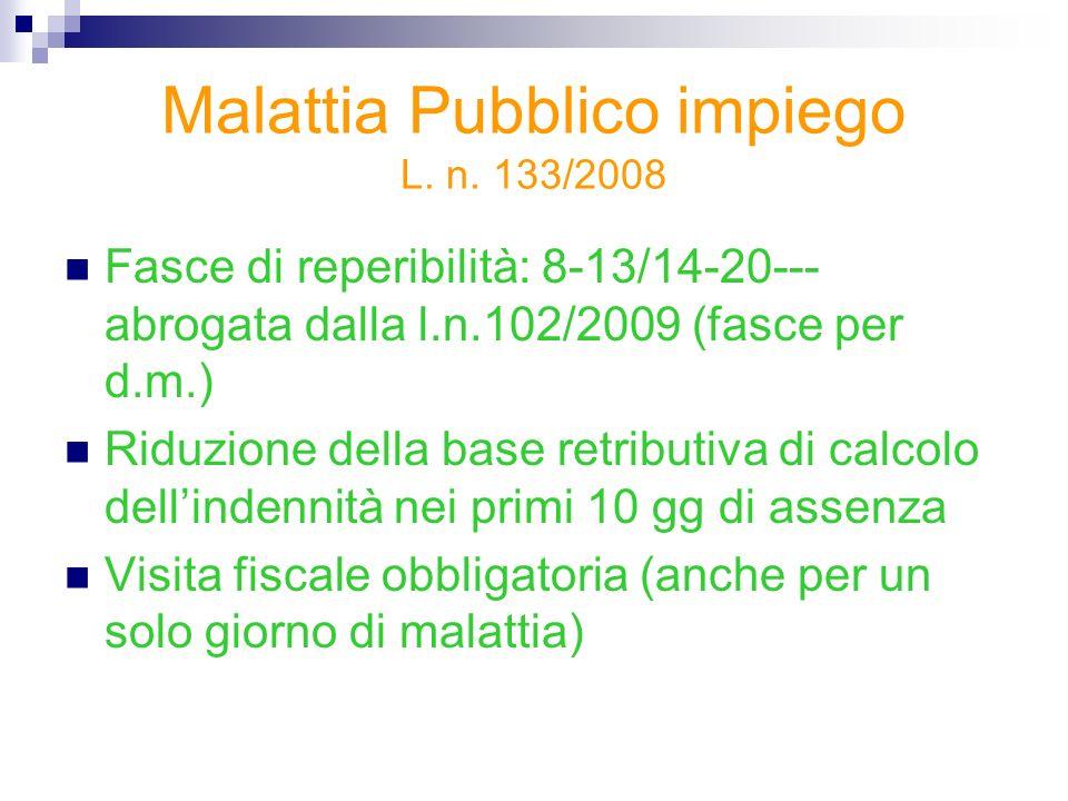 Malattia Pubblico impiego L. n. 133/2008