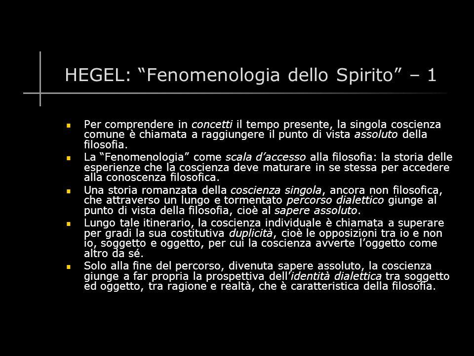 HEGEL: Fenomenologia dello Spirito – 1