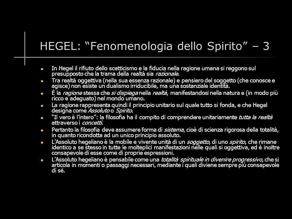 HEGEL: Fenomenologia dello Spirito – 3
