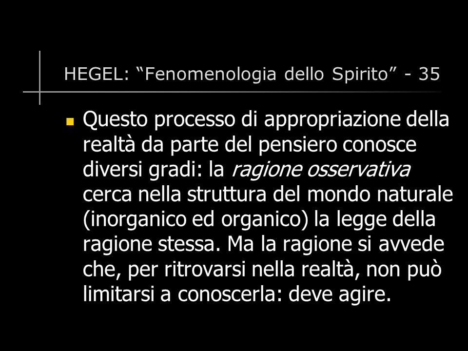 HEGEL: Fenomenologia dello Spirito - 35