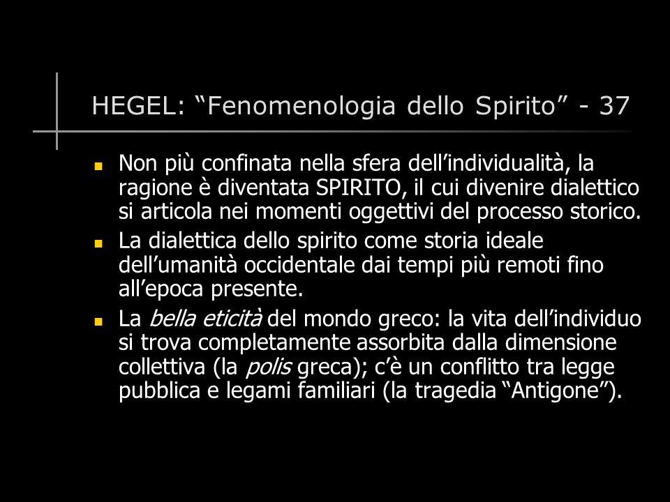 HEGEL: Fenomenologia dello Spirito - 37