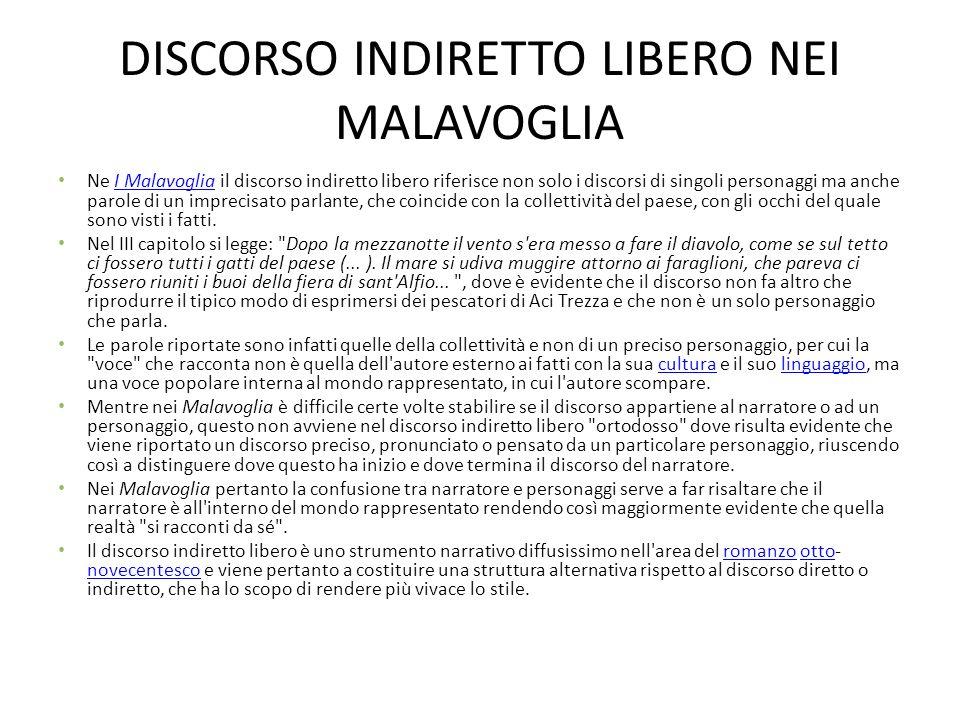 DISCORSO INDIRETTO LIBERO NEI MALAVOGLIA