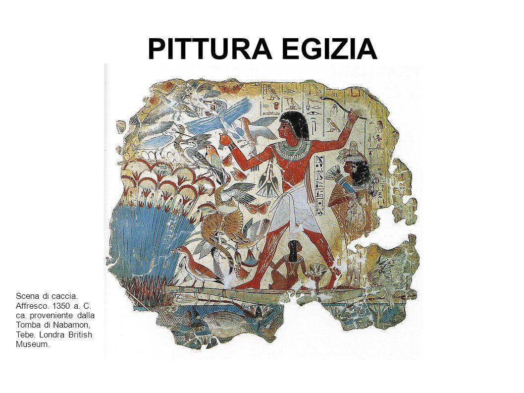 PITTURA EGIZIA Scena di caccia. Affresco. 1350 a.