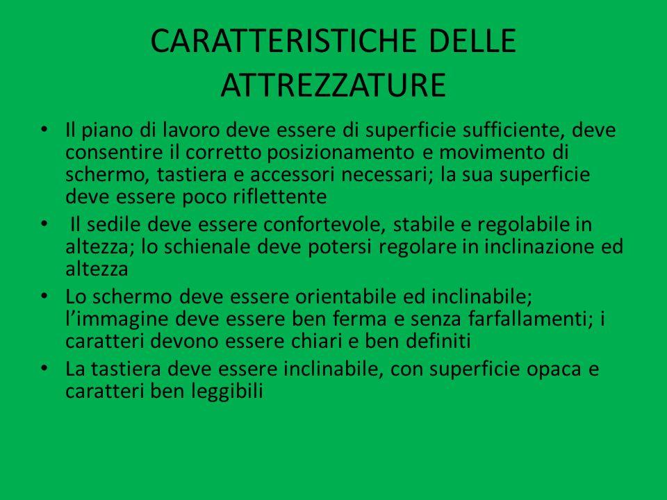 CARATTERISTICHE DELLE ATTREZZATURE