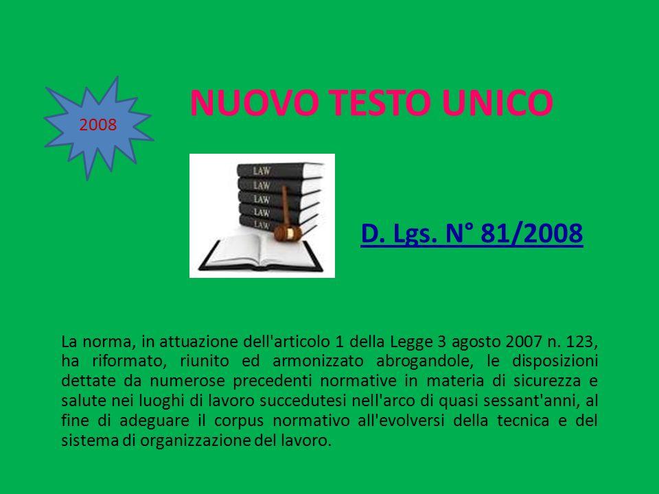 NUOVO TESTO UNICO D. Lgs. N° 81/2008 2008