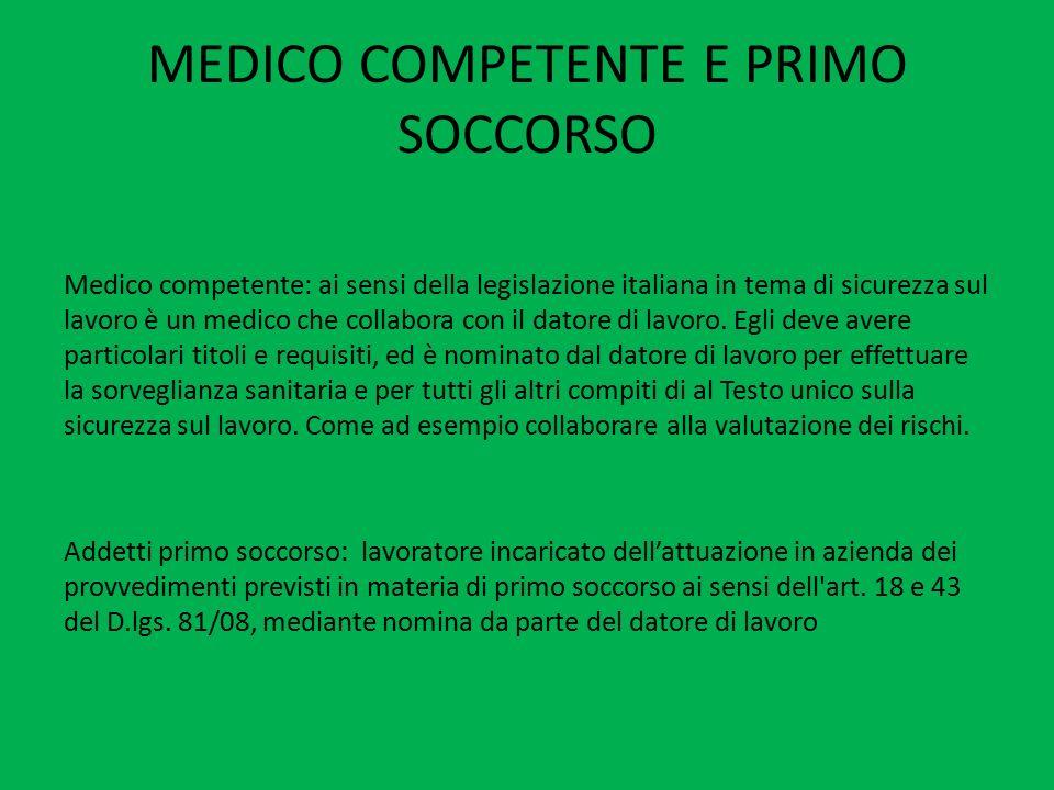 MEDICO COMPETENTE E PRIMO SOCCORSO