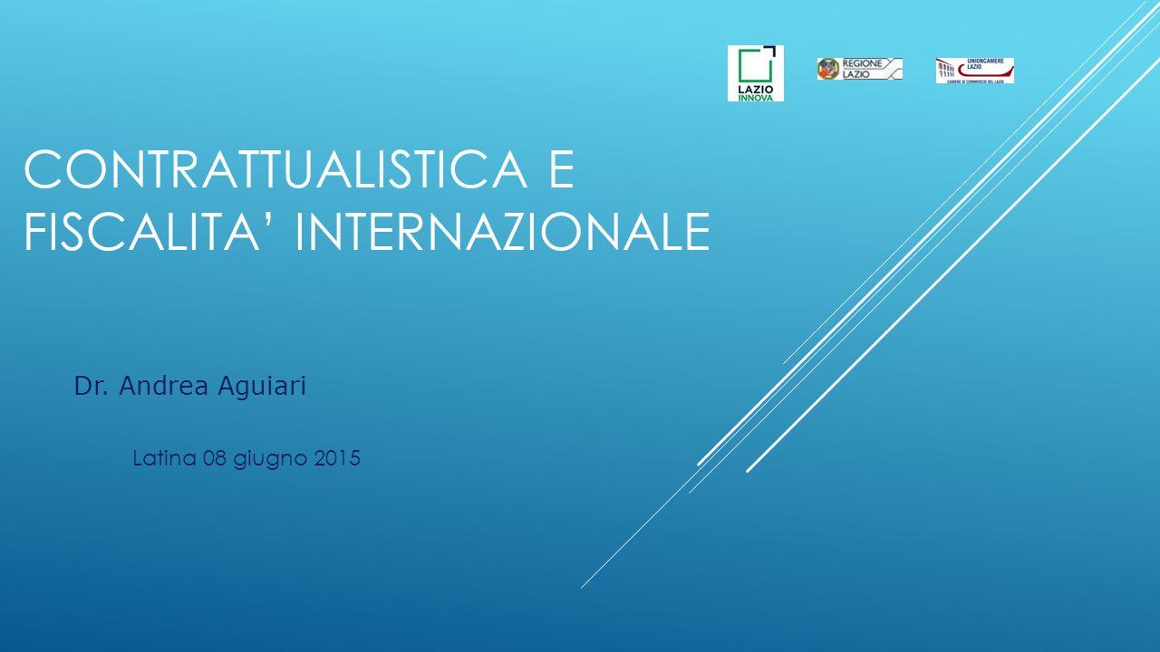CONTRATTUALISTICA E FISCALITA' INTERNAZIONALE