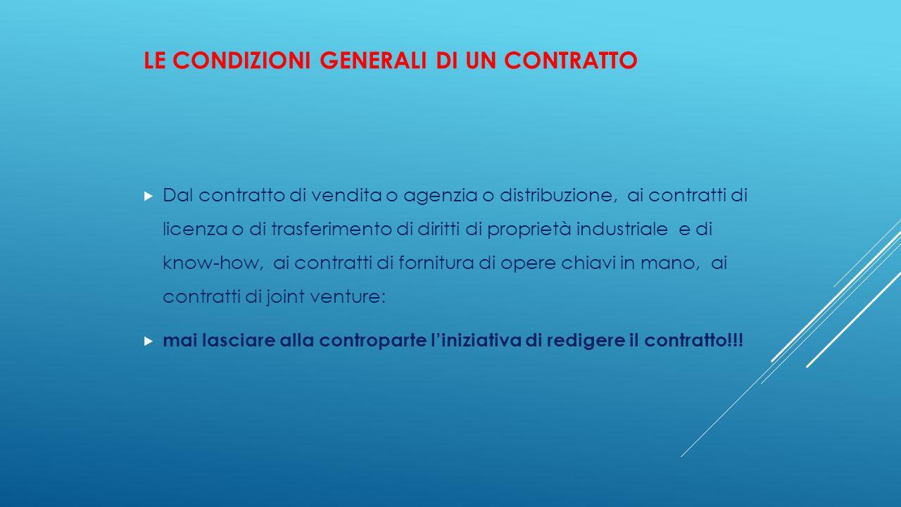 Le condizioni generali di un contratto