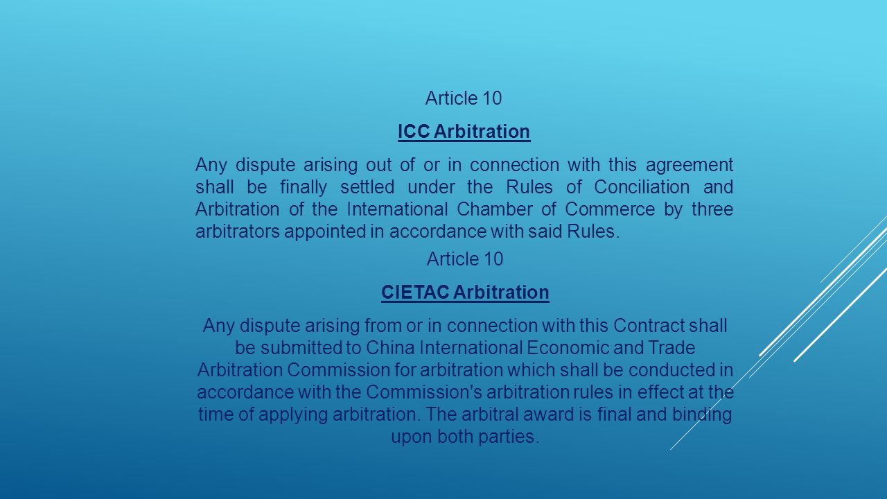 Article 10 ICC Arbitration.