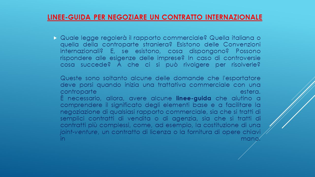 Linee-guida per negoziare un contratto internazionale