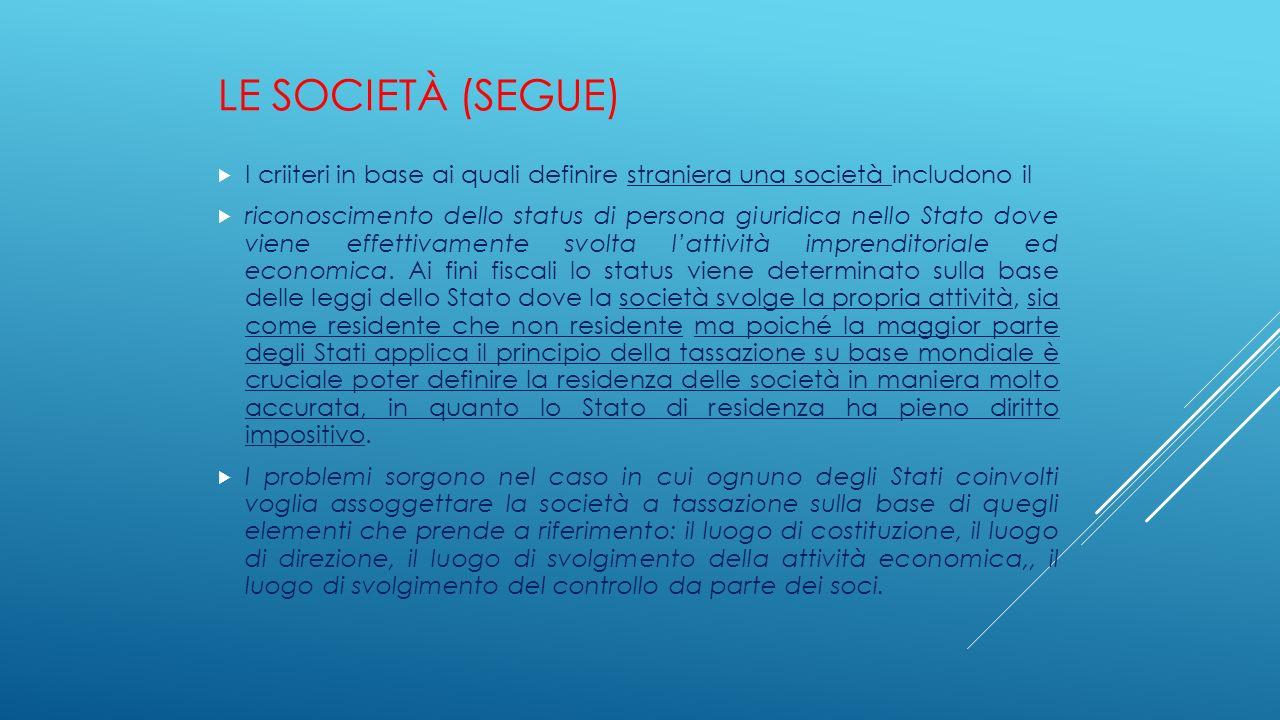 Le società (segue) I criiteri in base ai quali definire straniera una società includono il.