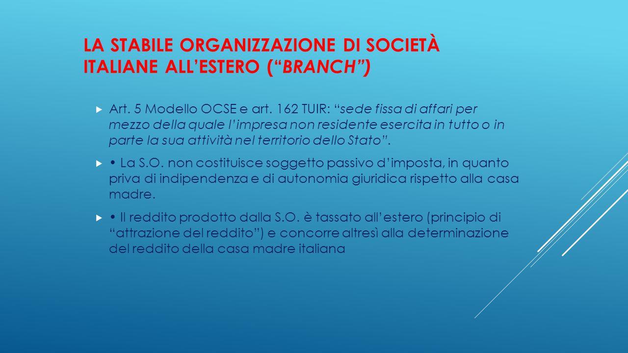 La stabile organizzazione di società italiane all'estero ( branch )