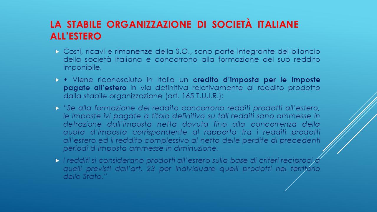 La stabile organizzazione di società italiane all'estero