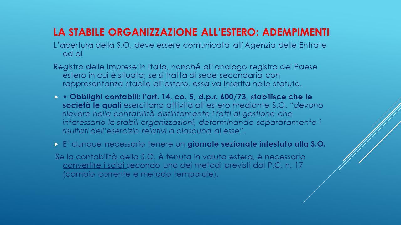 La stabile organizzazione all'estero: adempimenti