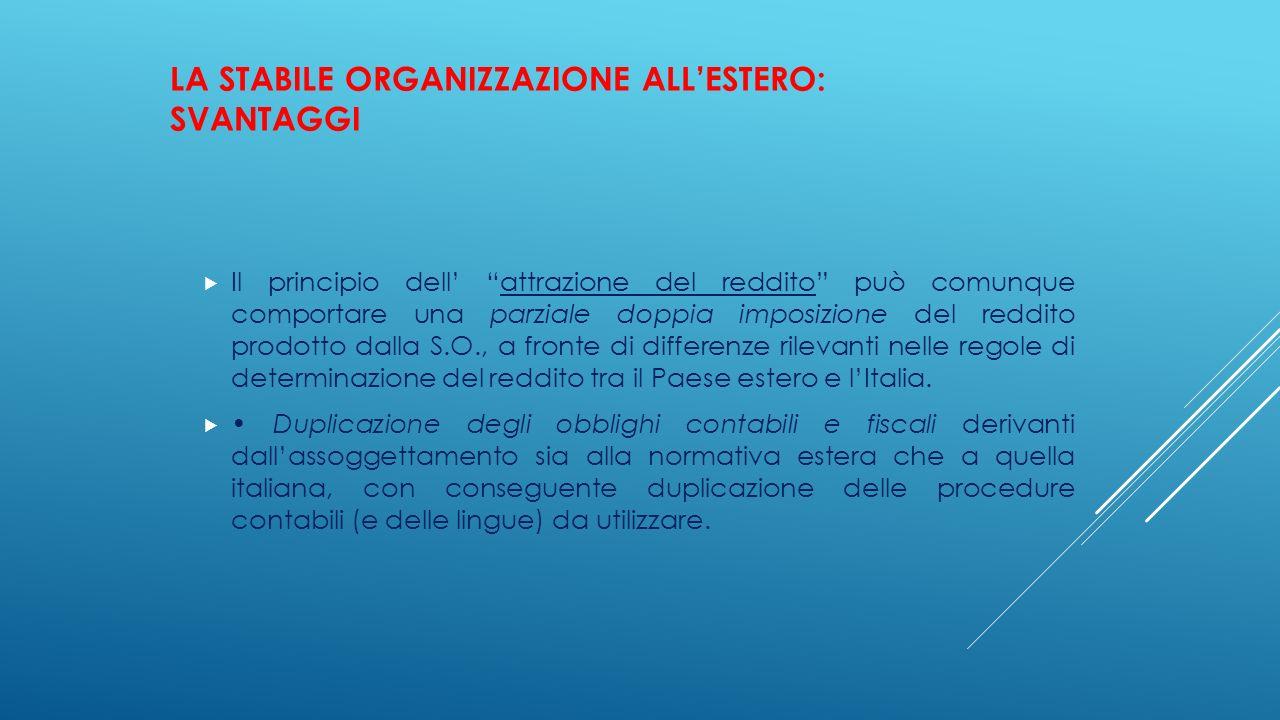 La stabile organizzazione all'estero: svantaggi
