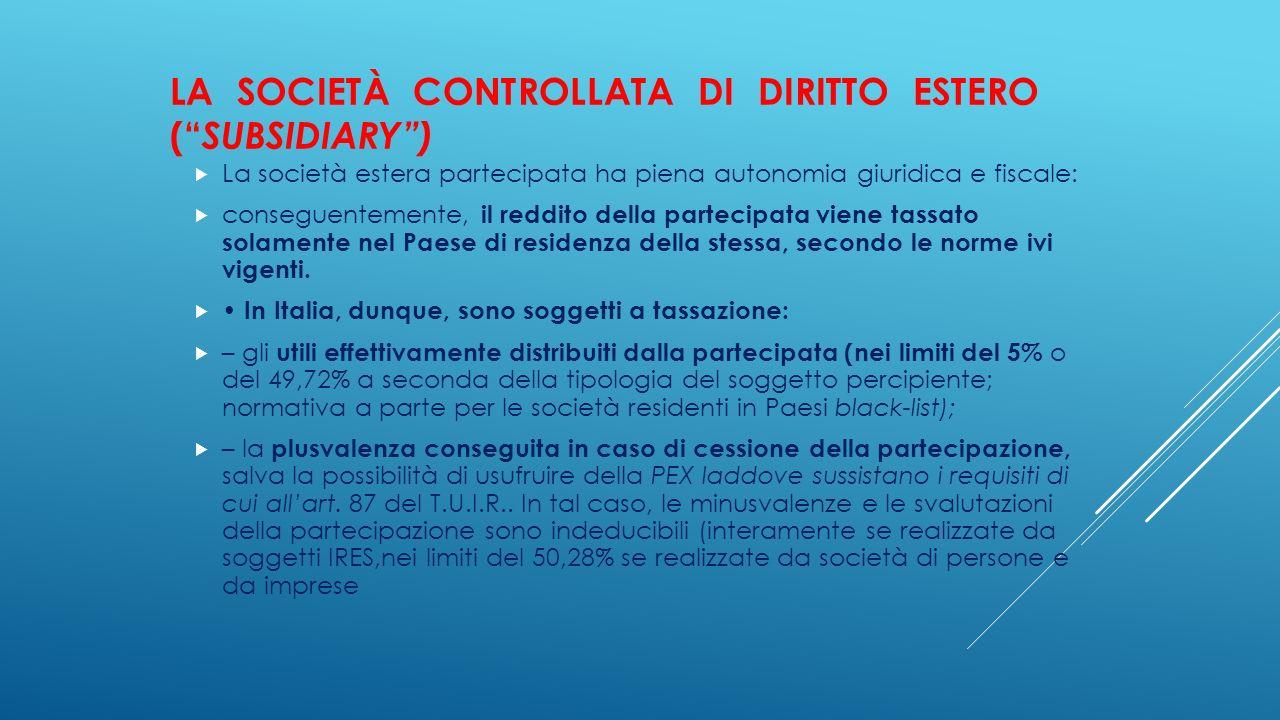 La società controllata di diritto estero ( subsidiary )