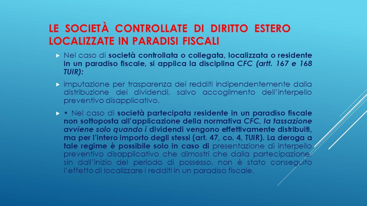 Le società controllate di diritto estero localizzate in paradisi fiscali