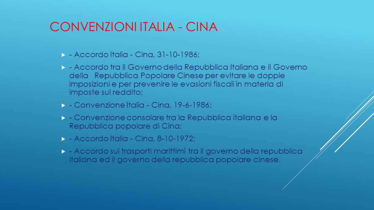 Convenzioni Italia - Cina