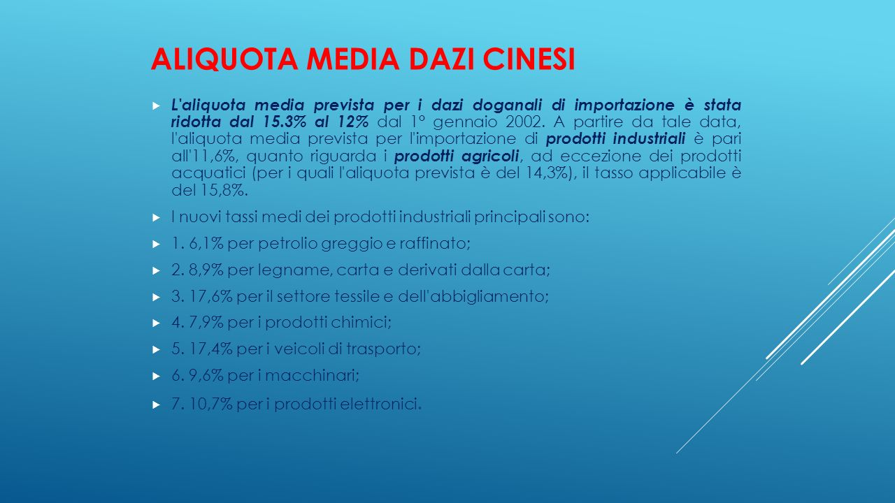 Aliquota media Dazi cinesi
