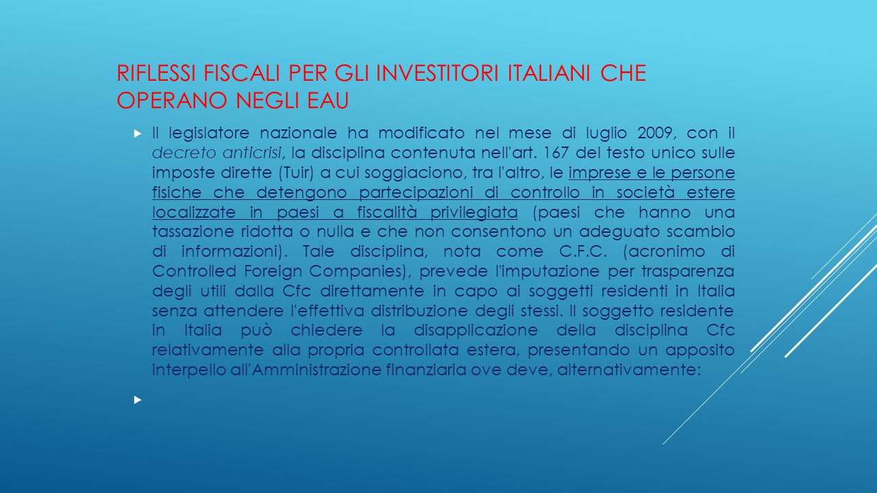 Riflessi fiscali per gli investitori italiani che operano negli EAU