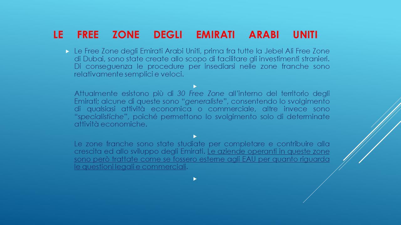 LE FREE ZONE DEGLI EMIRATI ARABI UNITI