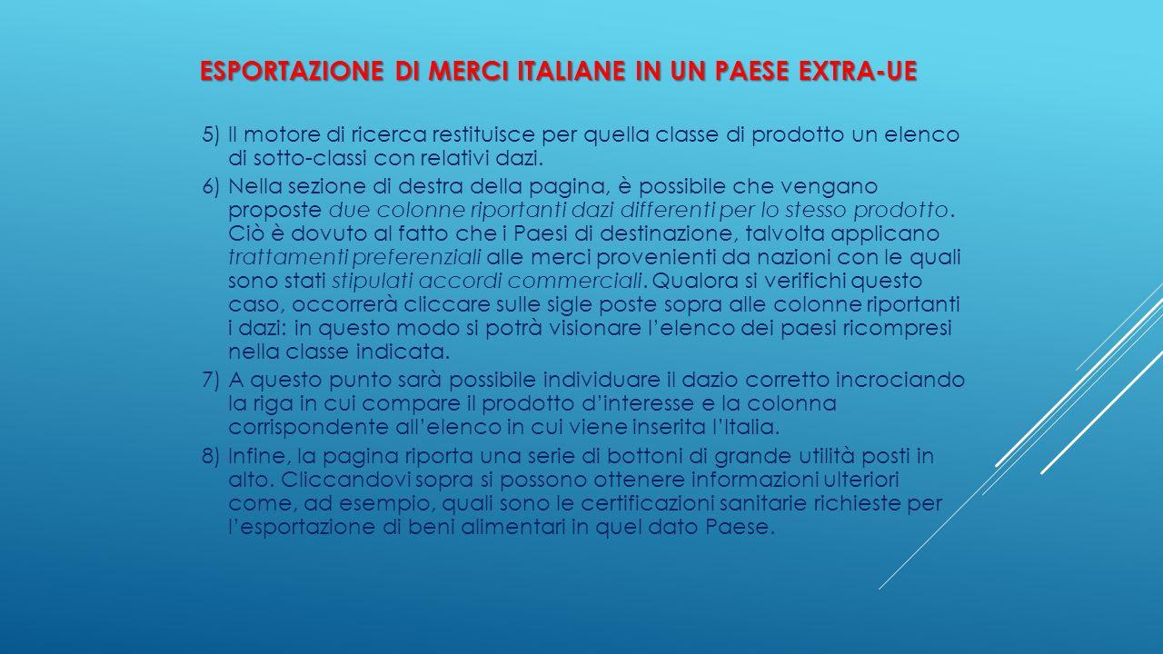 ESPORTAZIONE DI MERCI ITALIANE IN UN PAESE EXTRA-UE