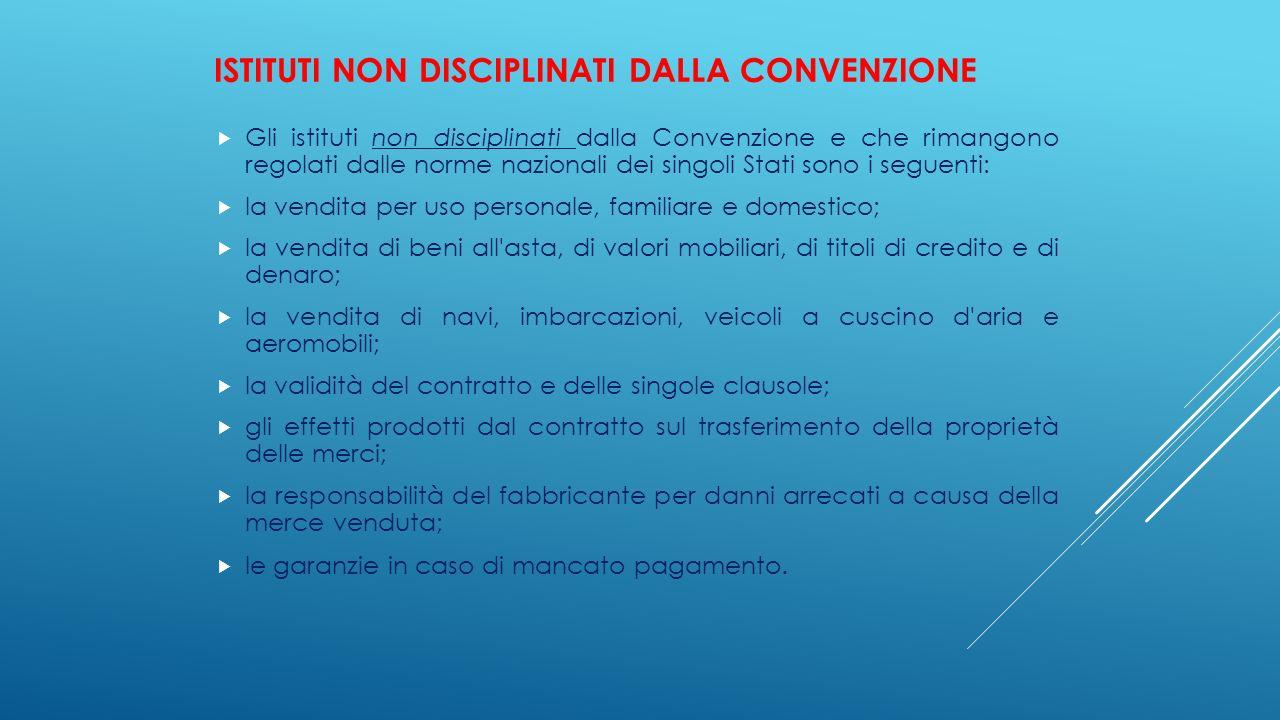 Istituti non disciplinati dalla Convenzione