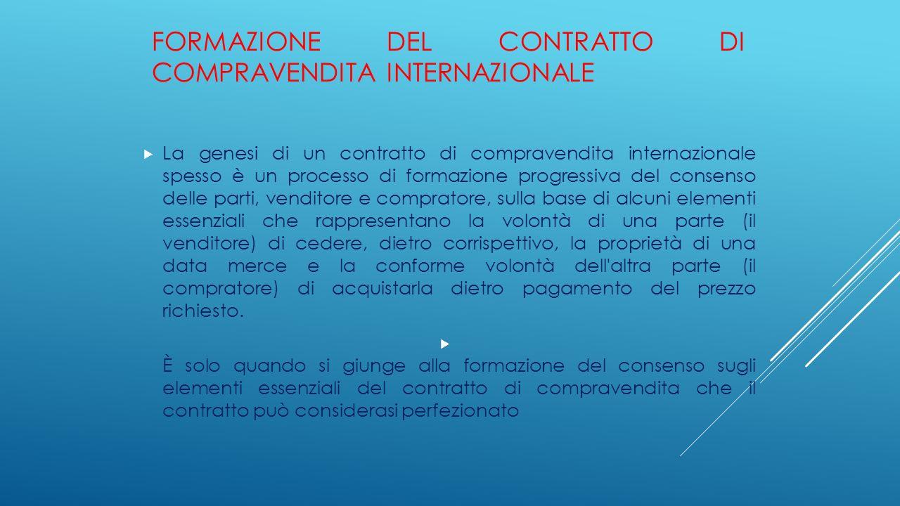 Formazione del contratto di compravendita internazionale