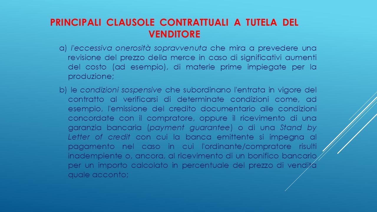 Principali clausole contrattuali a tutela del venditore