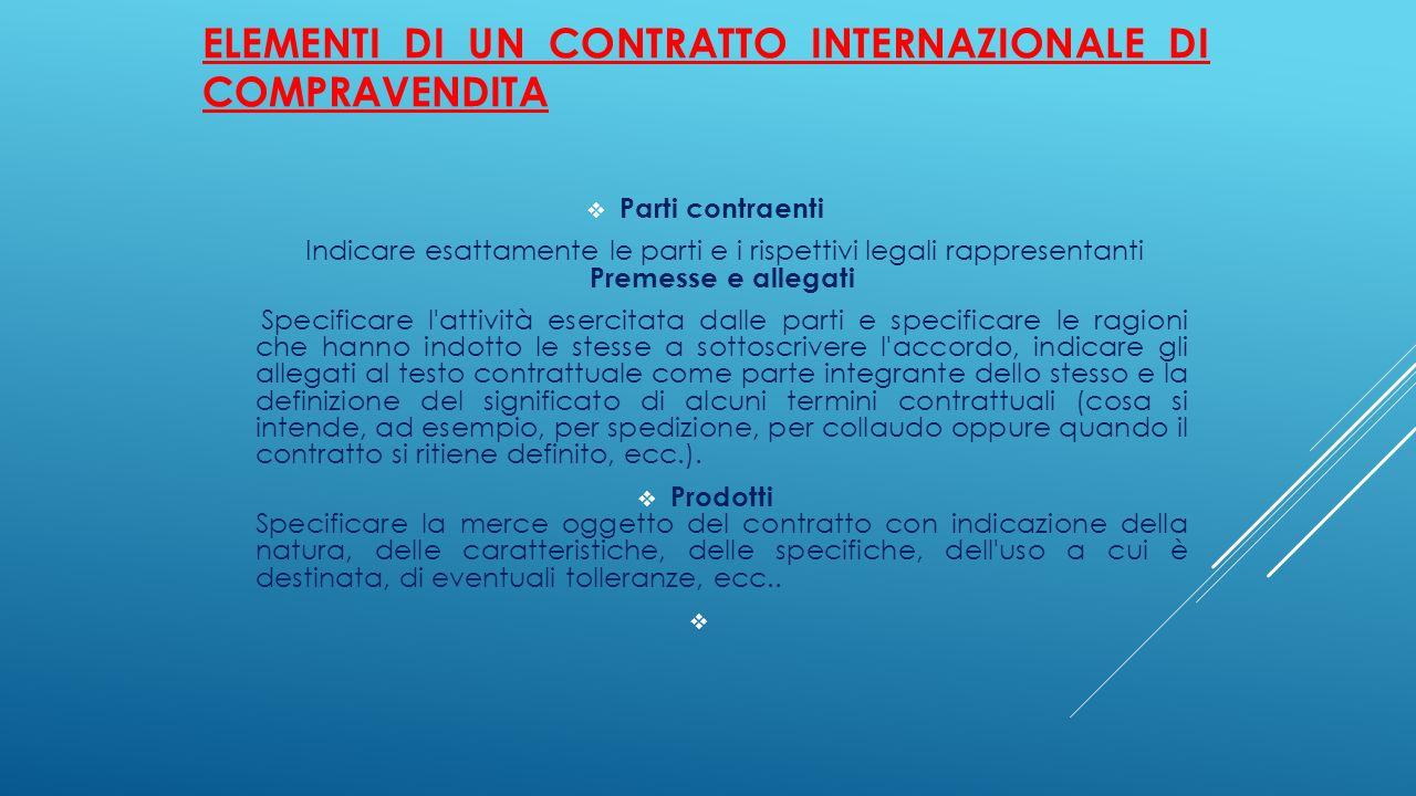 Elementi di un contratto internazionale di compravendita