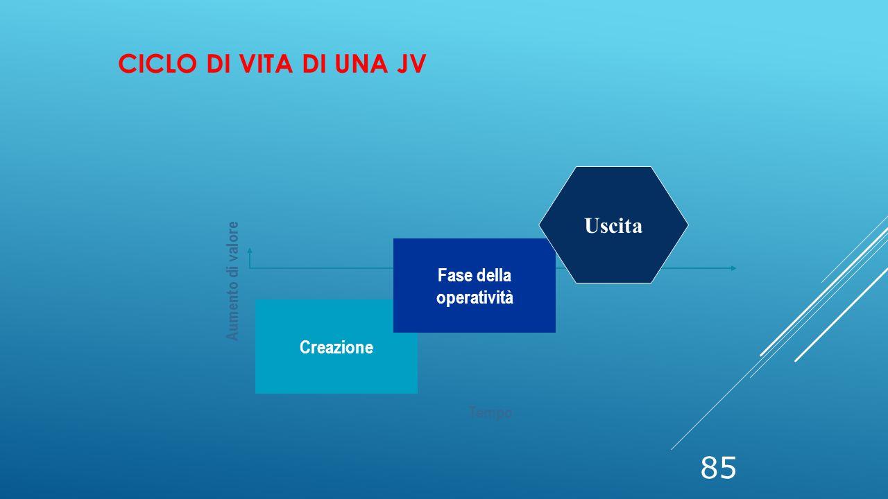 Ciclo di vita di una JV Uscita Fase della operatività Creazione
