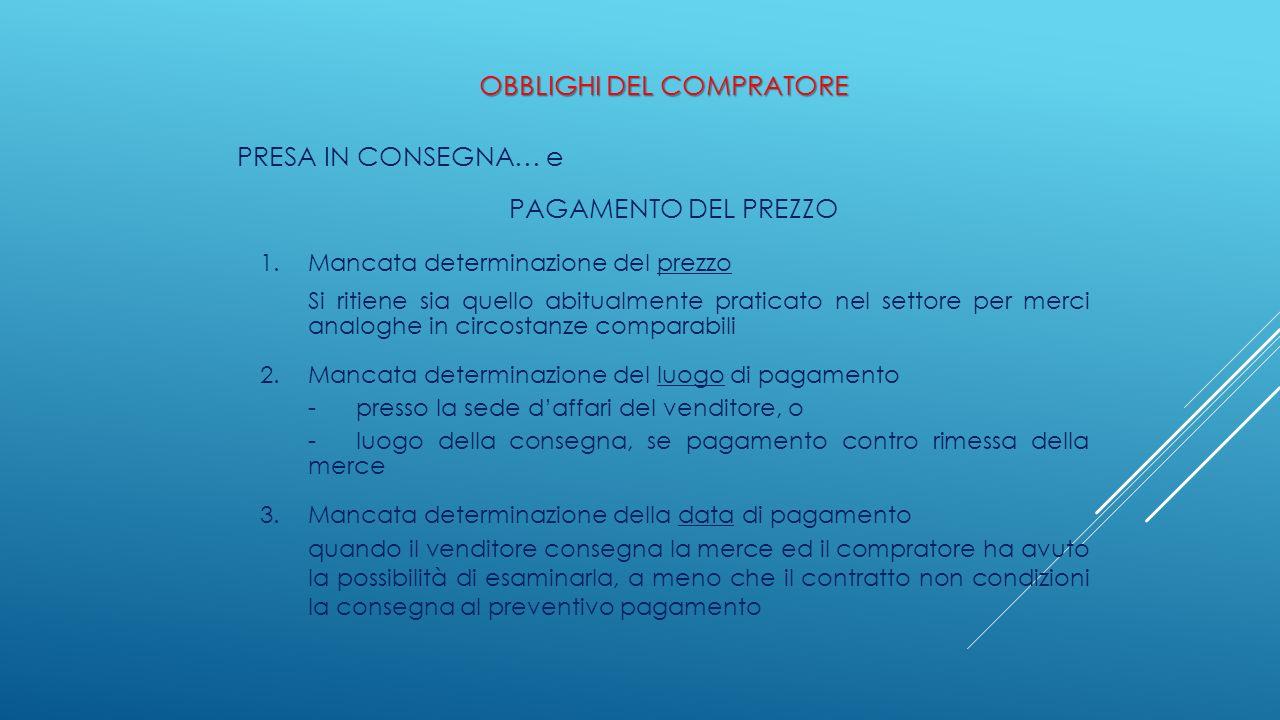OBBLIGHI DEL COMPRATORE