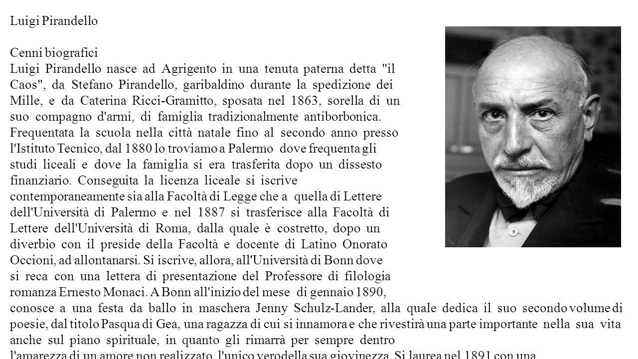 Luigi Pirandello Cenni biografici. Luigi Pirandello nasce ad Agrigento in una tenuta paterna detta il.